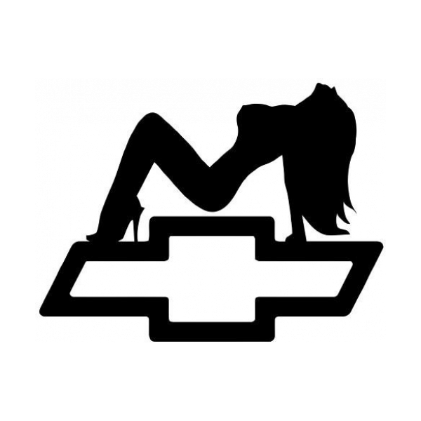 Sexy Girl Silhouette With Chevy Emblem Decal