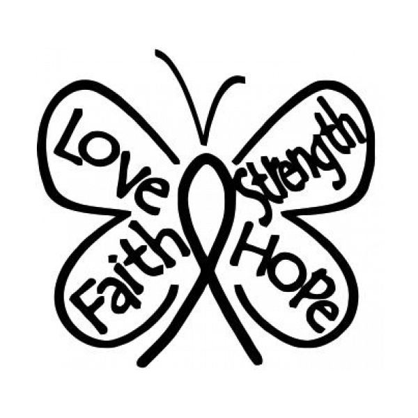 Breast Cancer Butterfly Ribbon Hope Faith Love Strength Decal