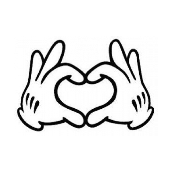 Mickey Mouse Hands Love Heart Decal